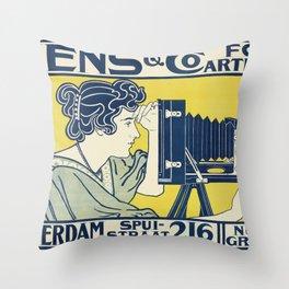 Vintage Camera Poster, 1899 Throw Pillow