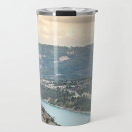 Blue mountain lake in France Travel Mug