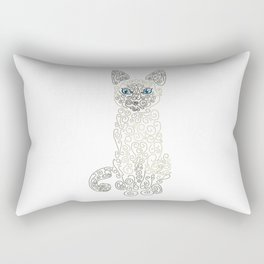 Swirly Siamese Cat Rectangular Pillow