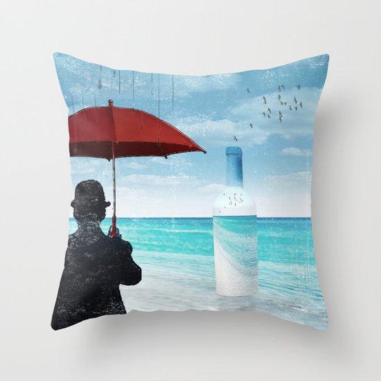Chaplin at the beach in the rian Throw Pillow