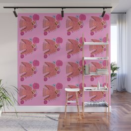 PINK FOLK DOVE PATTERN Wall Mural