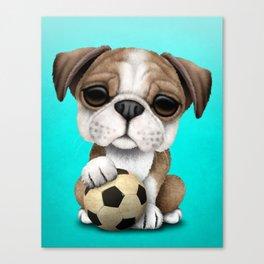 Cute British Bulldog Puppy With Football Soccer Ball Canvas Print