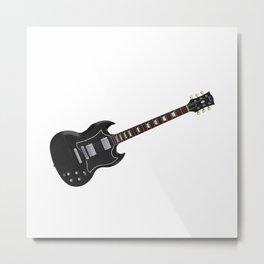 Black Electric Guitar Metal Print