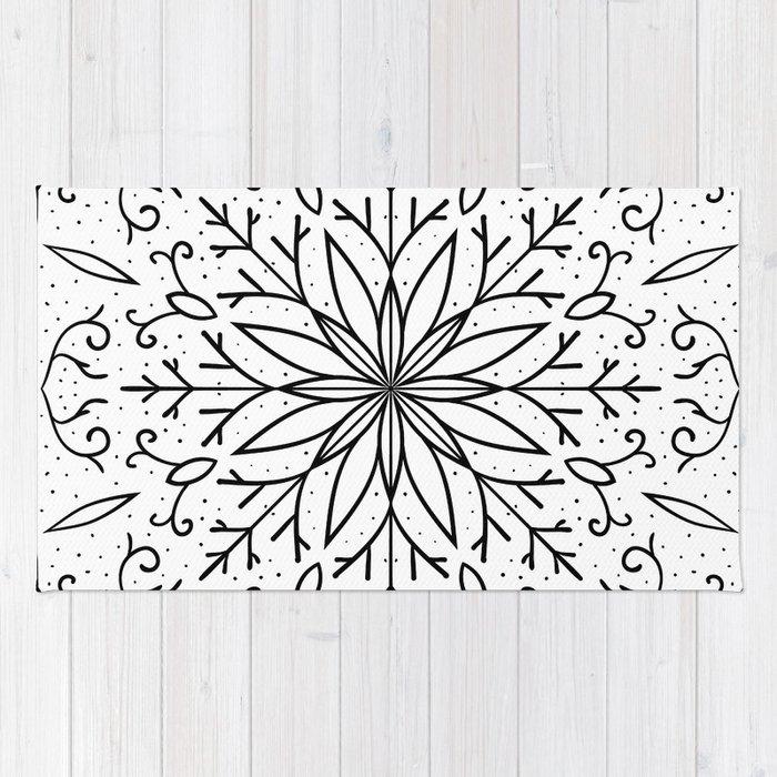 Single Snowflake - White Rug