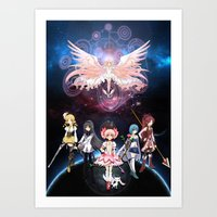 madoka magica Art Prints featuring Madoka Magica by Yiji