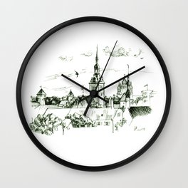 Medieval landscape. Wall Clock