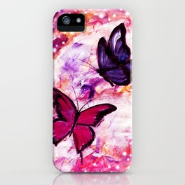 Butterflies on Mixed Media Background iPhone Case