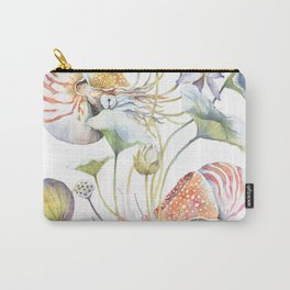 Nautilus and Lotus Surreal Watercolor Sea Animal Botanical Design Carry-All Pouch