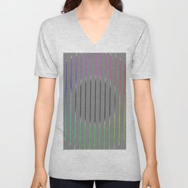 Minimalistic circle with colored lines Unisex V-Neck