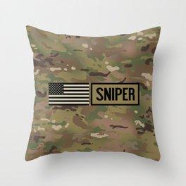Military: Sniper (Camo) Throw Pillow