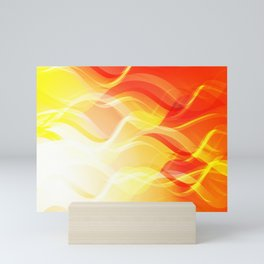 Theme of fire for the banner. Bright red and orange glare on a gentle background for a fabric or pos Mini Art Print