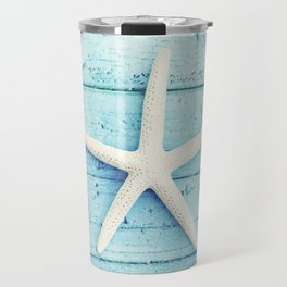 Starfish Beach Photography, Aqua Seashell Art, Coastal Nautical Photograph Travel Mug