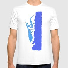 Blue Praying Mantis MEDIUM White Mens Fitted Tee