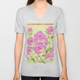 Pink Lavender Abstracted Roses Garden  Pale Cream Pattern Art Unisex V-Neck