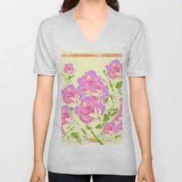 Pink Lavender Abstracted Roses Garden  Pale Cream Pattern Art Unisex V-Neck