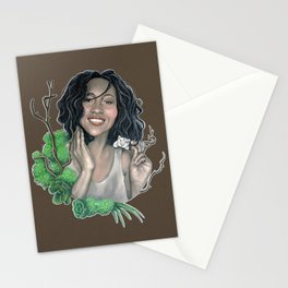Woman and mouse Stationery Cards