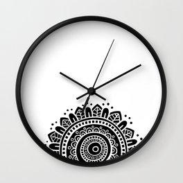 Mandala - White on Black Wall Clock