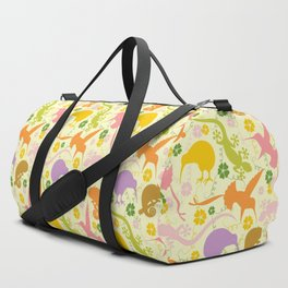Animals Exotic Pastel Colors Shapes Pattern Duffle Bag