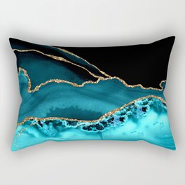 Teal Blue And Gold Glitter Veins Agate Rectangular Pillow