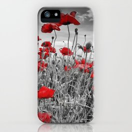 Idyllic Field of Poppies with Sun iPhone Case
