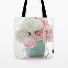 Dreamy Hydrangeas Pink Roses Aqua White Pink Shabby Chic Floral Wall Home Decor Tote Bag
