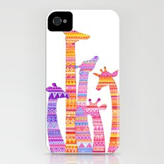 Giraffe Silhouettes in Colorful Tribal Print Slim Case iPhone (4, 4s)