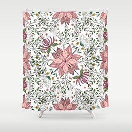 Cute Vintage Pink Floral Doodles Tile Art Shower Curtain