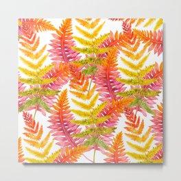 Hand painted pink orange watercolor fall fern floral Metal Print