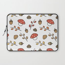 cute lovely autumn pattern with branches, leaves, mushroom, acorns, chestnuts Laptop Sleeve