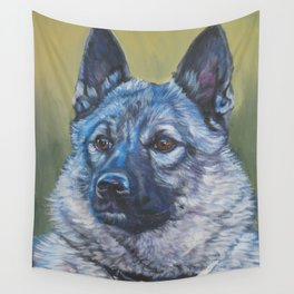 Norwegian Elkhound dog art portrait from anoriginal painting by L.A.Shepard Wall Tapestry