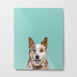 Australian Cattle Dog red heeler pet portrait art print and dog gifts Metal Print