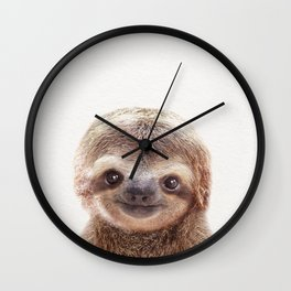 Baby Sloth, Baby Animals Art Print By Synplus Wall Clock