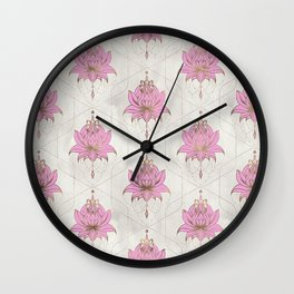 Lotus flowers pattern - pastels Wall Clock