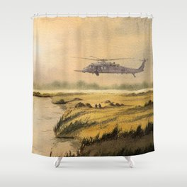 HH-60 Pave Hawk Helicopter Shower Curtain