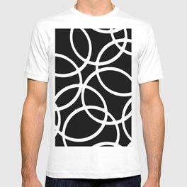 Interlocking White Circles Artistic Design T-shirt