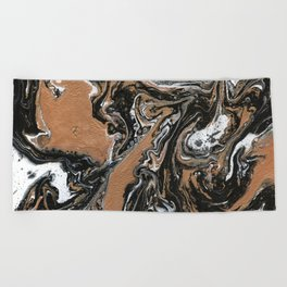 Fluid Gold - Abstract, acrylic, art painting Beach Towel