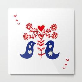 Love birds white Metal Print