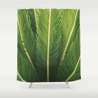 palm tree Shower Curtains featuring palm tree by Life Through the Lens