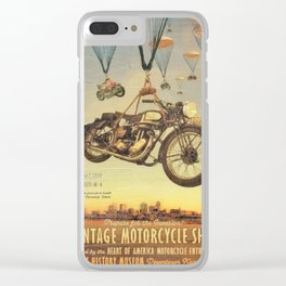 Vintage Motorcycle Show Poster Clear iPhone Case