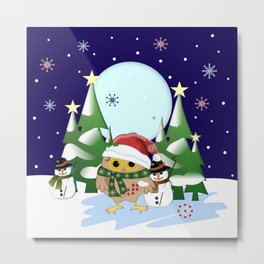 Santa Owl and his Snowman friend Metal Print