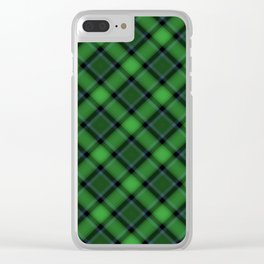 Green Scottish Fabric Clear iPhone Case