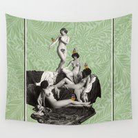 nudes Wall Tapestries featuring Of Fiddlebittery & Birds by mentalembellisher