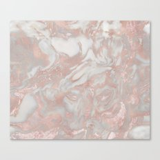 French polished rose gold marble Canvas Print