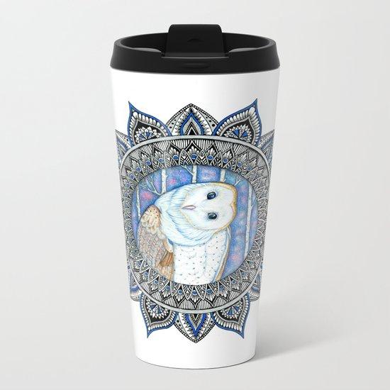 Winter Barn Owl Mandala Metal Travel Mug