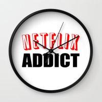 netflix Wall Clocks featuring Netflix Addict by Poppo Inc.