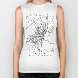 BOGOTA COLOMBIA BLACK CITY STREET MAP ART Biker Tank