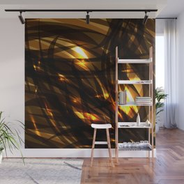Saturated copper and smooth sparkling lines of black tapes on the theme of space and abstraction. Wall Mural