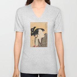 Vintage Japanese Ukiyo-e Woodblock Print Woman Portrait IV Unisex V-Neck