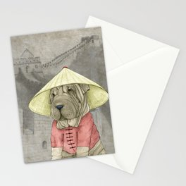 Shar Pei on the Great Wall Stationery Cards