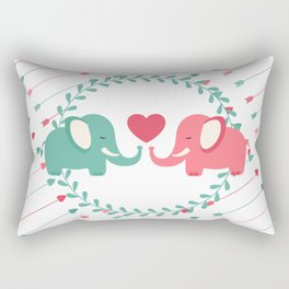 Elephant Love with Arrows Rectangular Pillow